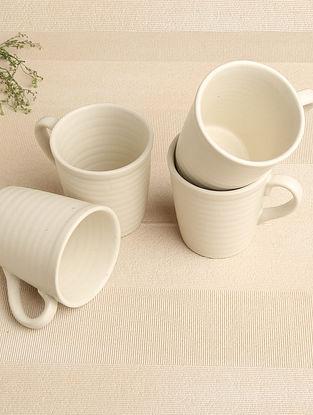 White Matte Ceramic Mug (Dia-3.25in, H-3.75in) ( Set of 4 )