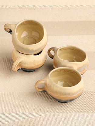 Cream  and  Blue Ceramic Cup (Dia-2.75in, H-2.5in) ( Set of 4 )