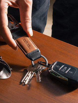 Tan Handcrafted Leather Keychain Clip