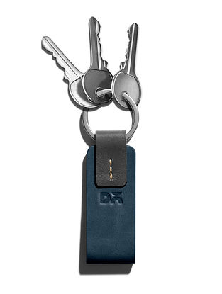 Blue Handcrafted Leather Keyring
