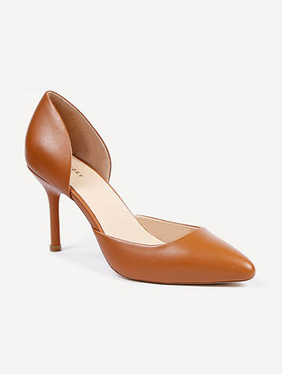Tan Handcrafted Genuine Leather Pencil Heels