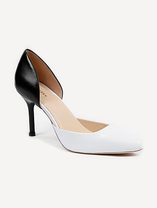 Black White Handcrafted Genuine Leather Pencil Heels