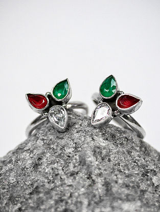 Green Red Silver Toe Rings
