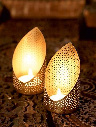 Gold Pranaam Metal Table Tealight Holder (Set of 2) (Dia- 1.5in ,H- 3.5in)