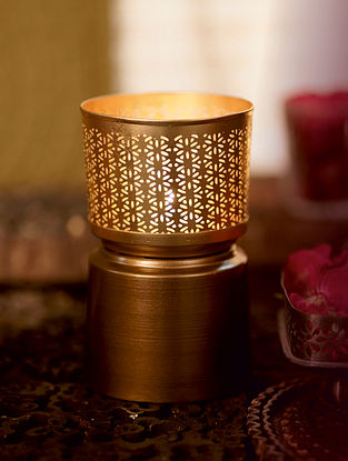 Antique Gold Sitara Metal Table Tealight Holder (Dia- 3.7in ,H- 5.7in)