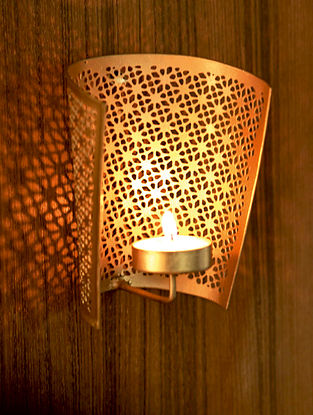 Gold Jaipuri Metal Wall Tealight Holder (Dia- 3.9in ,H- 4.7in)