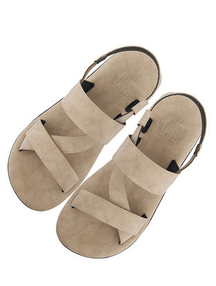 Beige Handcrafted Leather Sandals for Boys
