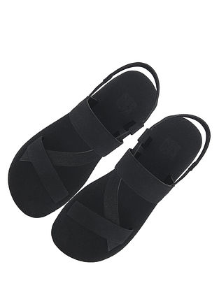Black Handcrafted Leather Sandals for Boys