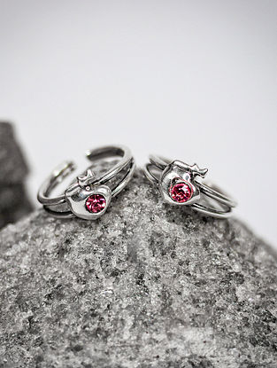 Pink Silver Toe Rings