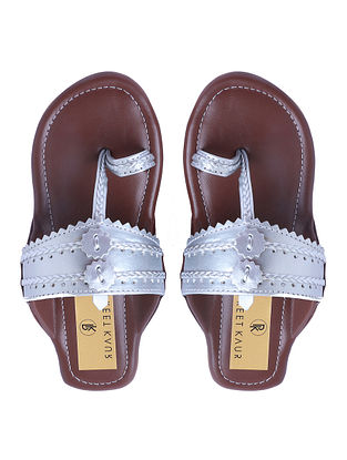 Silver Handcrafted Faux Leather Kolhapuri Flats for Girls