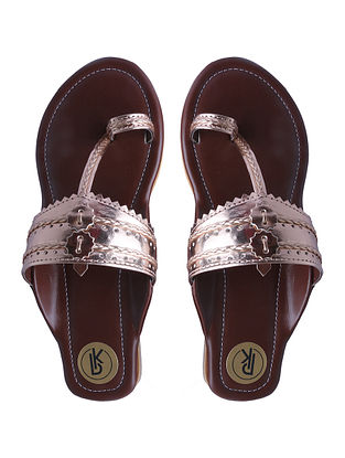 Rose Gold Handcrafted Faux Leather Kolhapuri Flats for Girls