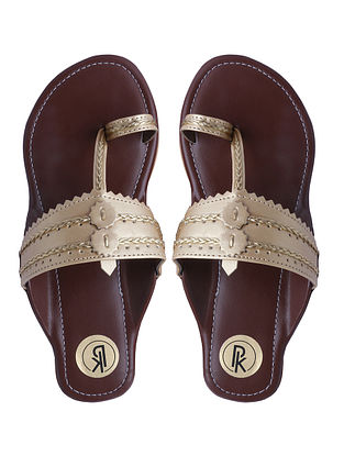 Gold Handcrafted Faux Leather Kolhapuri Flats for Girls