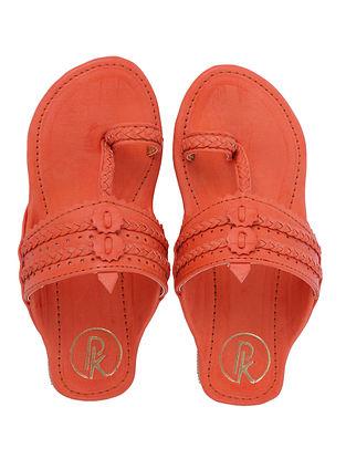 Orange Handcrafted Faux Leather Kolhapuri Flats for Girls