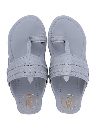 Grey Handcrafted Faux Leather Kolhapuri Flats for Girls