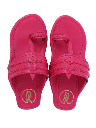 Pink Handcrafted Faux Leather Kolhapuri Flats for Girls