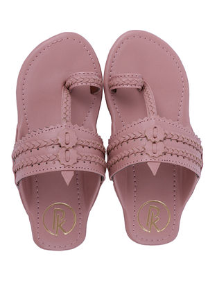 Salmon Pink Handcrafted Faux Leather Kolhapuri Flats for Girls