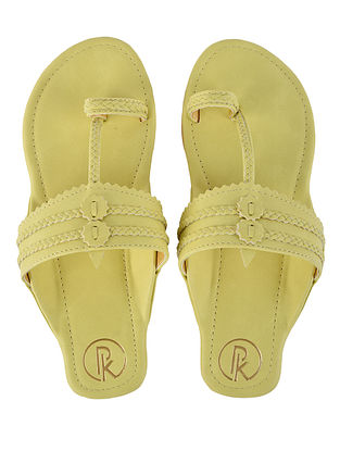 Yellow Handcrafted Faux Leather Kolhapuri Flats for Girls