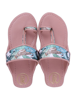 Multicolored Handcrafted Faux Leather Kolhapuri Flats for Girls