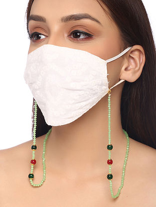 Green Maroon Beaded Necklace Cum Mask Chain