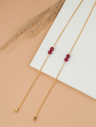 Maroon Gold Tone Handcrafted Necklace Cum Mask Chain