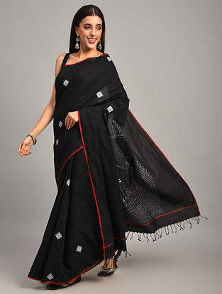 Black Kantha Embroidered Cotton Saree