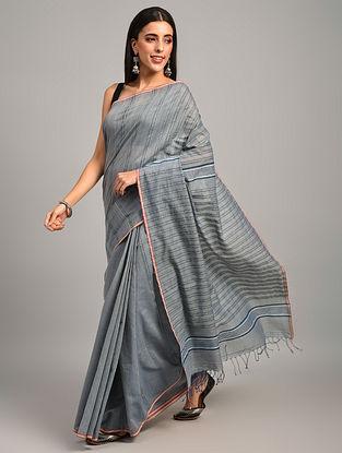 Grey Handwoven Natural Dyed  Cotton Saree