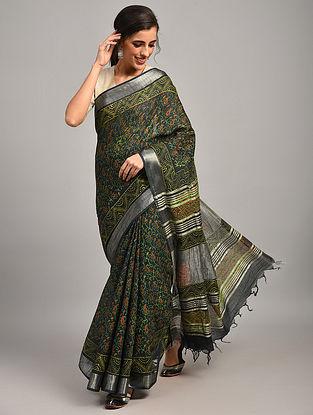Green Dabu Printed Slub Cotton Saree