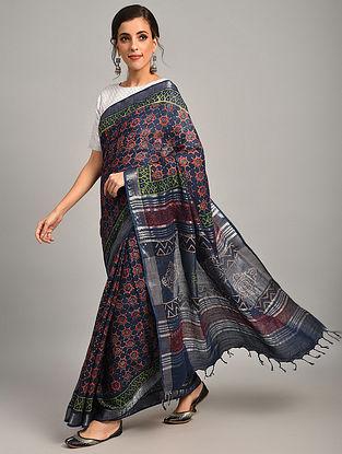 Blue Dabu Printed Slub Cotton Saree