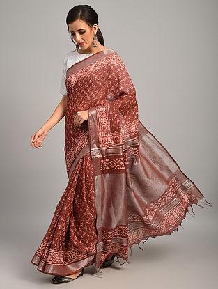 Red  Dabu Printed Slub Cotton Saree