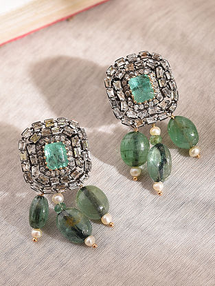 Diamond Silver Earrings With Emerald And Pearls