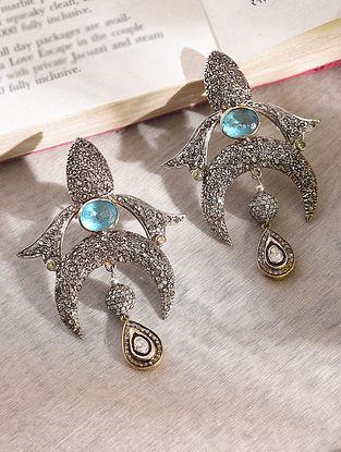 Diamond Silver Polki Earrings With Blue Topaz