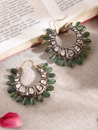 Diamond Silver Polki Earrings with Emerald