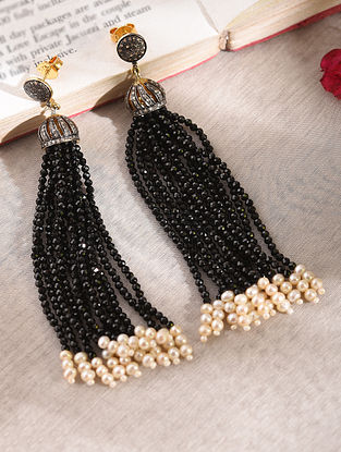 Diamond Silver Earrings with Onyx And Pearls