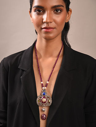 Diamond Silver Polki Necklace With Ruby Lapis And Pearls