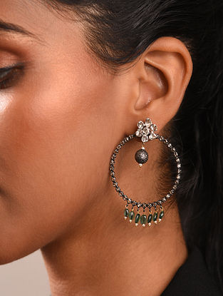 Diamond Silver Polki Earrings With Emeralds