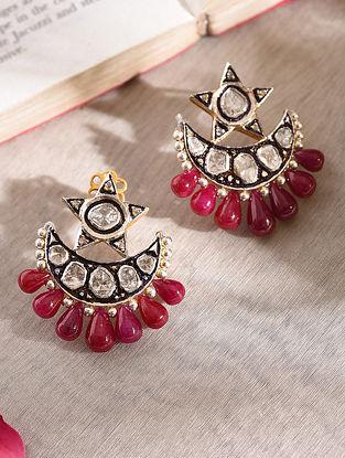 Diamond Silver Polki Earrings With Ruby
