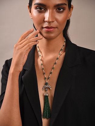 Diamond Silver Polki Necklace With Emeralds