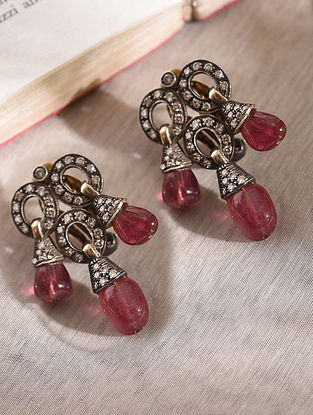 Diamond Silver Earrings With Rubylite