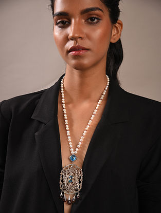 Diamond Silver Polki Necklace With Tourmaline