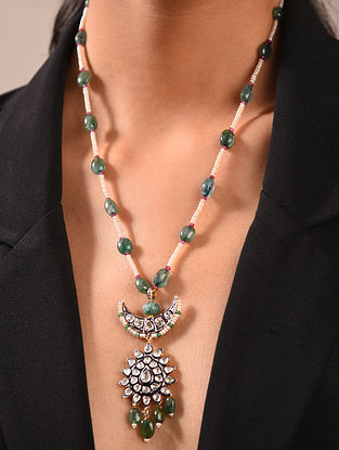 Diamond Silver Polki Necklace with Emeralds And Ruby