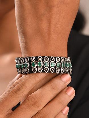 Diamond Silver Bracelet With Emeralds