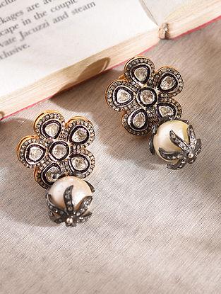 Diamond Silver Polki Earrings With South Sea Pearls