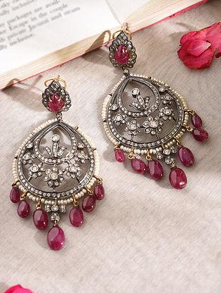 Diamond Silver Earrings With Ruby