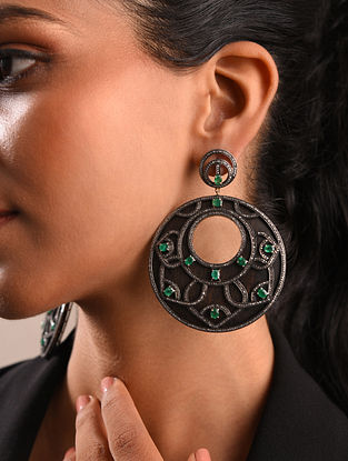 Diamond Silver Earrings With Emeralds