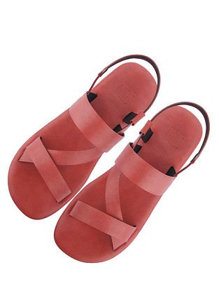 Red Handcrafted Leather Sandals for Boys