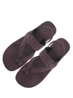 Maroon Handcrafted Leather Sandals for Boys
