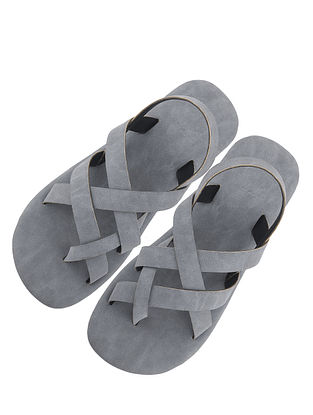Grey Handcrafted Leather Sandals for Boys