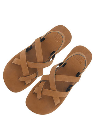 Tan Handcrafted Leather Sandals for Boys