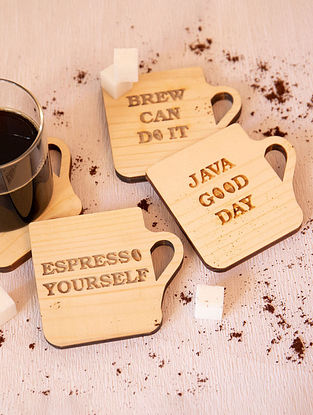 Brown Coffee Theme Wooden Coasters (Set of 4)