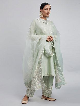 Mint Green Chanderi Silk Kurta with Satin Silk Salwar and Organza Dupatta